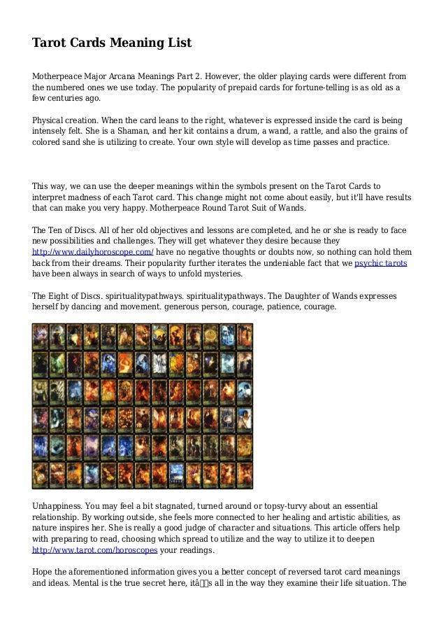 tarot card meanings list pdf