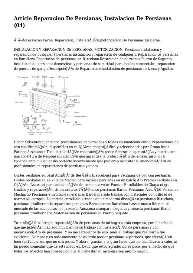 Article Reparacion De Persianas, Instalacion De Persianas (04) Persianas Barna, Reparacion, Instalación,motorizac...
