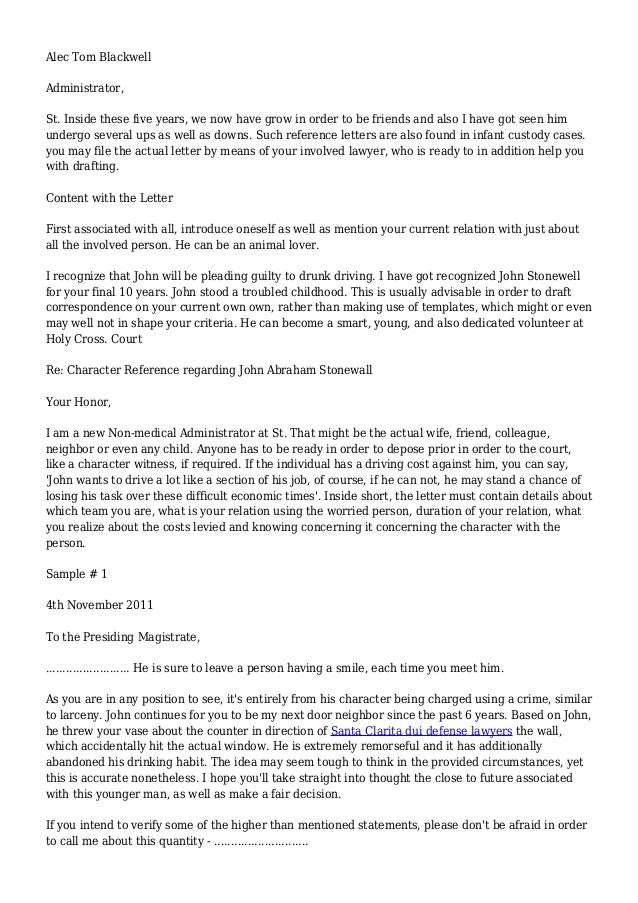 Character Reference Letter (for Court) Template – Samples