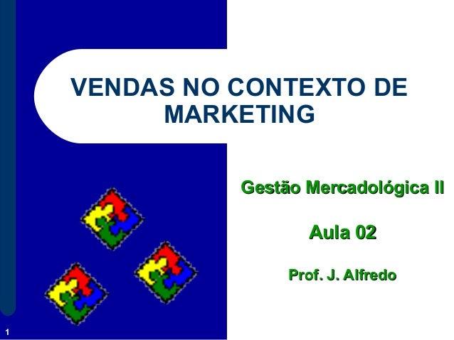 1 VENDAS NO CONTEXTO DE MARKETING Gestão Mercadológica IIGestão Mercadológica II Aula 02Aula 02 Prof. J. AlfredoProf. J. A...
