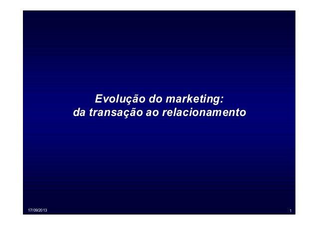 17/09/2013 1 Evolução do marketing: da transação ao relacionamento