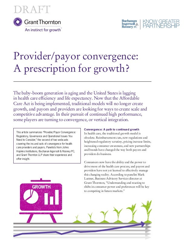 Provider/payor convergence: A prescription for growth?