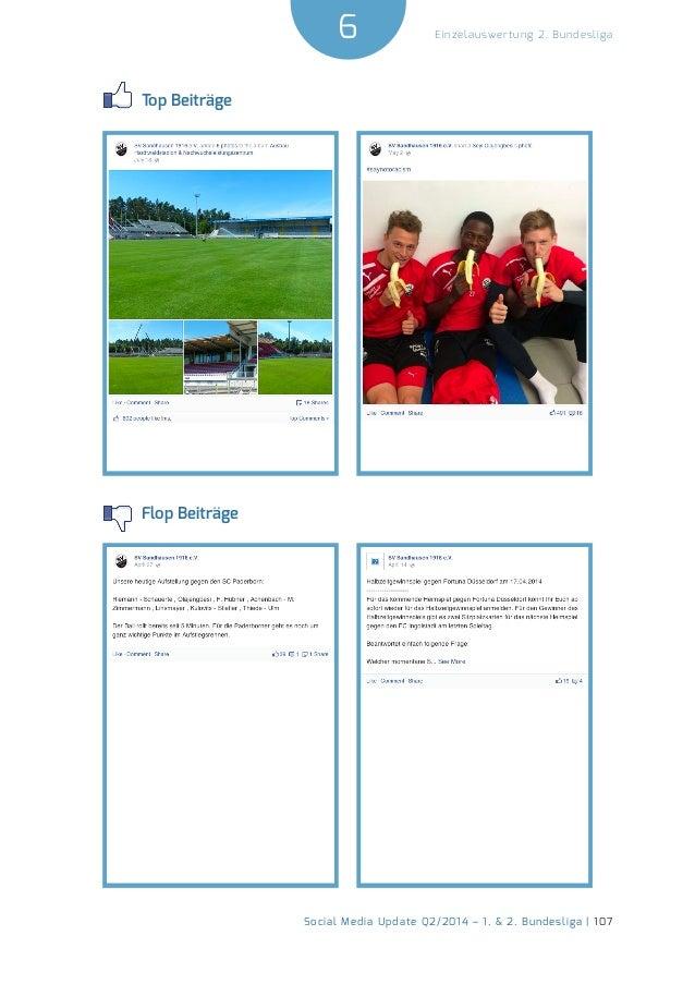 6  Social Media Update Q2/2014 – 1. & 2. Bundesliga | 107  Einzelauswertung 2. Bundesliga  Top Beiträge  Flop Beiträge