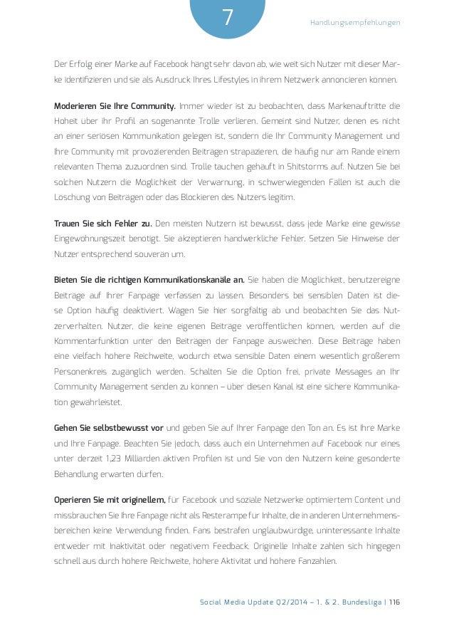 7  Social Media Update Q2/2014 – 1. & 2. Bundesliga | 116  Handlungsempfehlungen  Der Erfolg einer Marke auf Facebook häng...