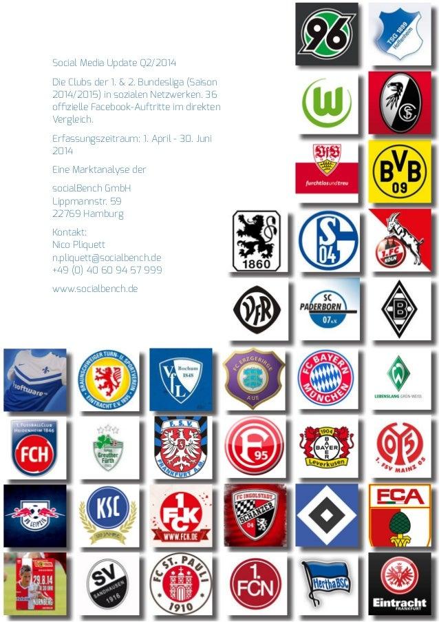 Social Media Update Q2/2014  Die Clubs der 1. & 2. Bundesliga (Saison  2014/2015) in sozialen Netzwerken. 36  offizielle F...