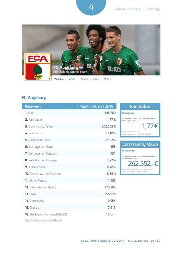 4  Social Media Update Q2/2014 – 1. & 2. Bundesliga | 37  Einzelauswertung 1. Bundesliga  FC Augsburg  Kennwert 1. April -...