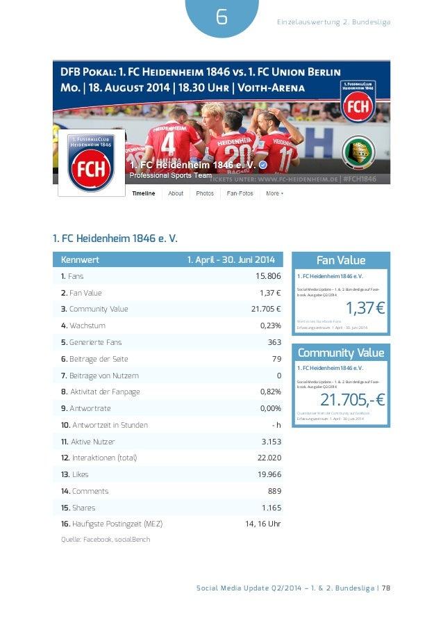 6  Social Media Update Q2/2014 – 1. & 2. Bundesliga | 78  Einzelauswertung 2. Bundesliga  1. FC Heidenheim 1846 e. V.  Ken...