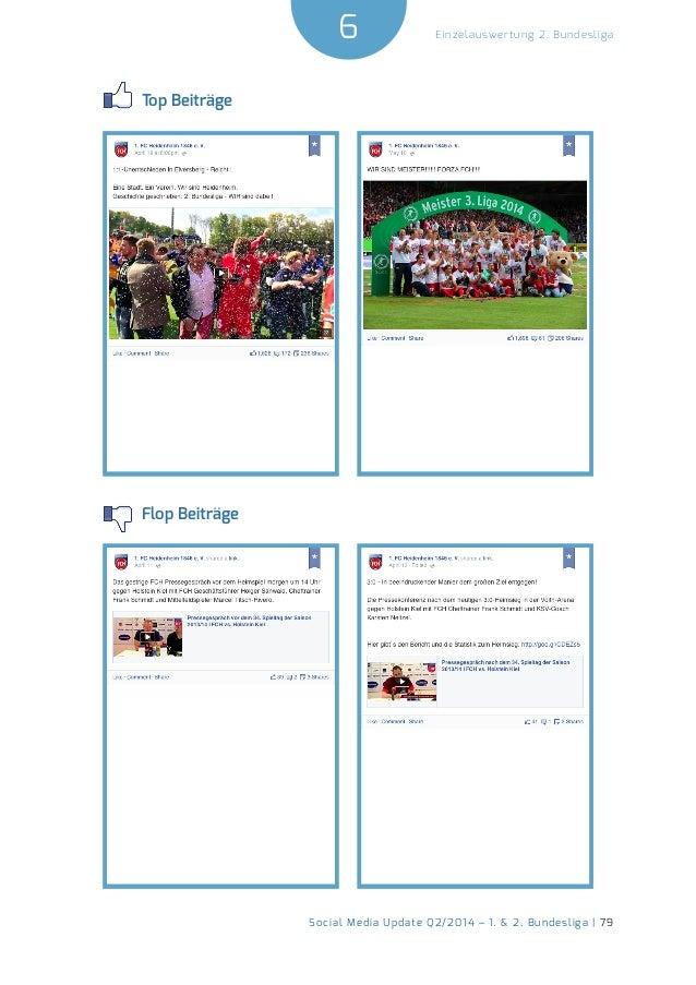 6  Social Media Update Q2/2014 – 1. & 2. Bundesliga | 79  Einzelauswertung 2. Bundesliga  Top Beiträge  Flop Beiträge
