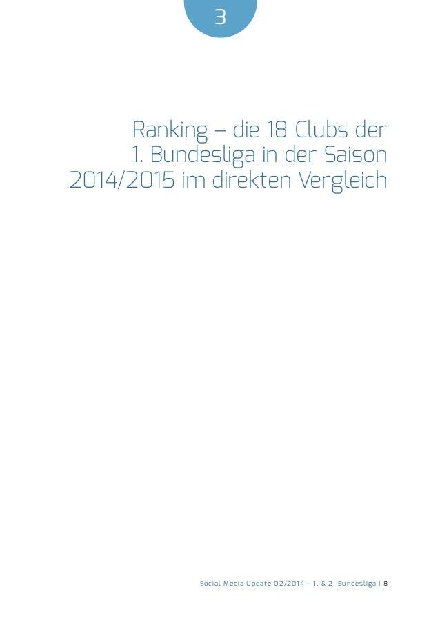 3  Social Media Update Q2/2014 – 1. & 2. Bundesliga | 8  Ranking – die 18 Clubs der  1. Bundesliga in der Saison  2014/201...