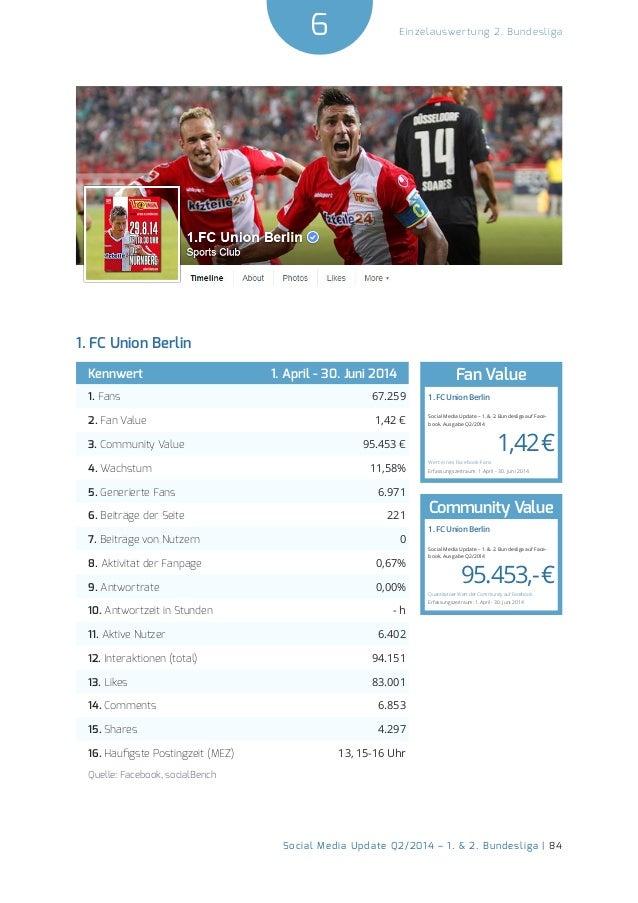 6  Social Media Update Q2/2014 – 1. & 2. Bundesliga | 84  Einzelauswertung 2. Bundesliga  1. FC Union Berlin  Kennwert 1. ...