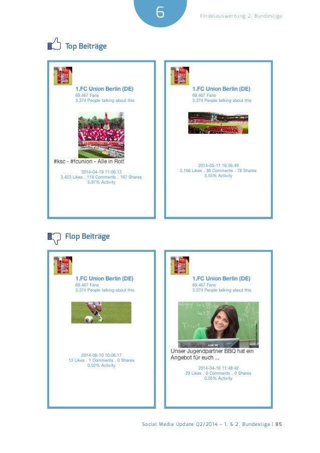 6  Social Media Update Q2/2014 – 1. & 2. Bundesliga | 85  Einzelauswertung 2. Bundesliga  Top Beiträge  Flop Beiträge