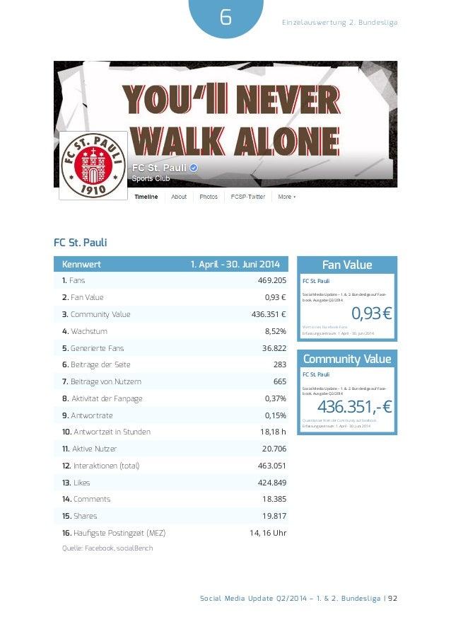 6  Social Media Update Q2/2014 – 1. & 2. Bundesliga | 92  Einzelauswertung 2. Bundesliga  FC St. Pauli  Kennwert 1. April ...