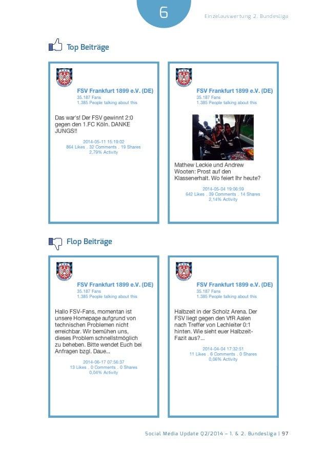 6  Social Media Update Q2/2014 – 1. & 2. Bundesliga | 97  Einzelauswertung 2. Bundesliga  Top Beiträge  Flop Beiträge