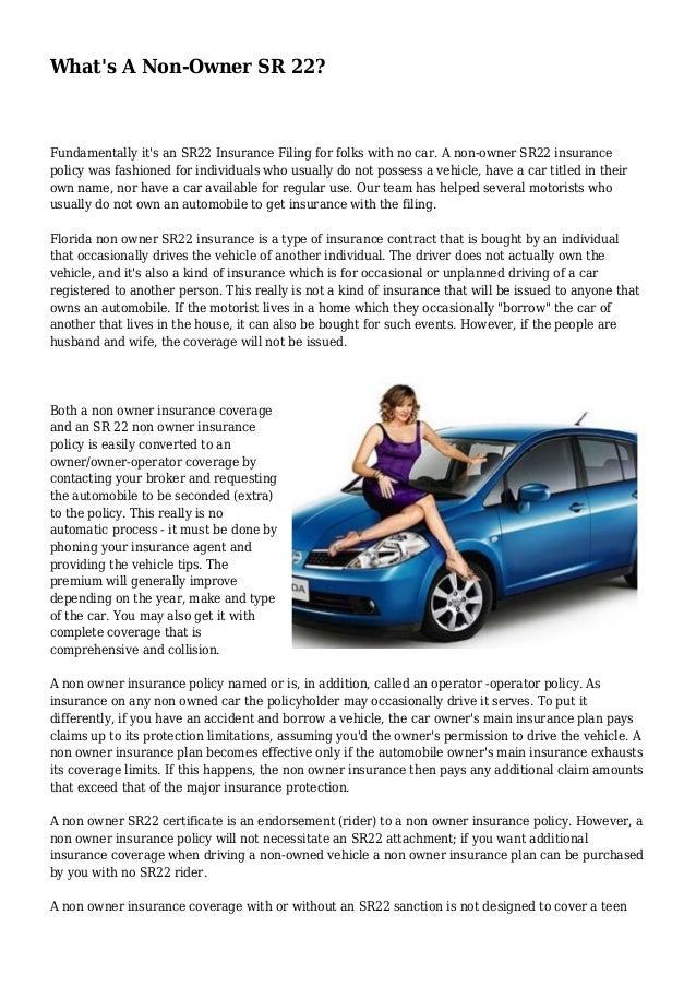 Non Owner Car Insurance Sr22   Life Insurance Blog