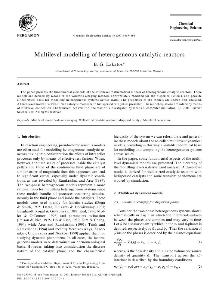Chemical Engineering Science 56 (2001) 659}666               Multilevel modelling of heterogeneous catalytic reactors     ...