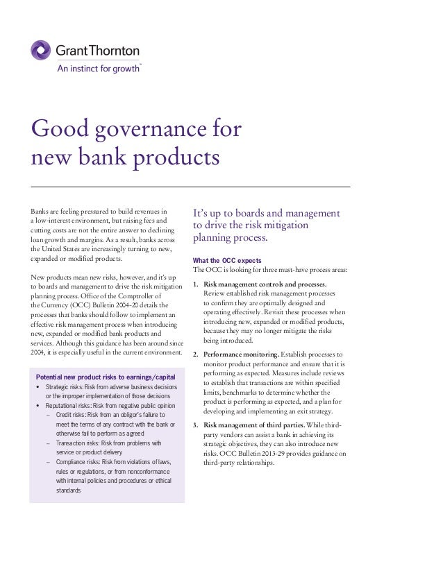 Good governance for new bank products