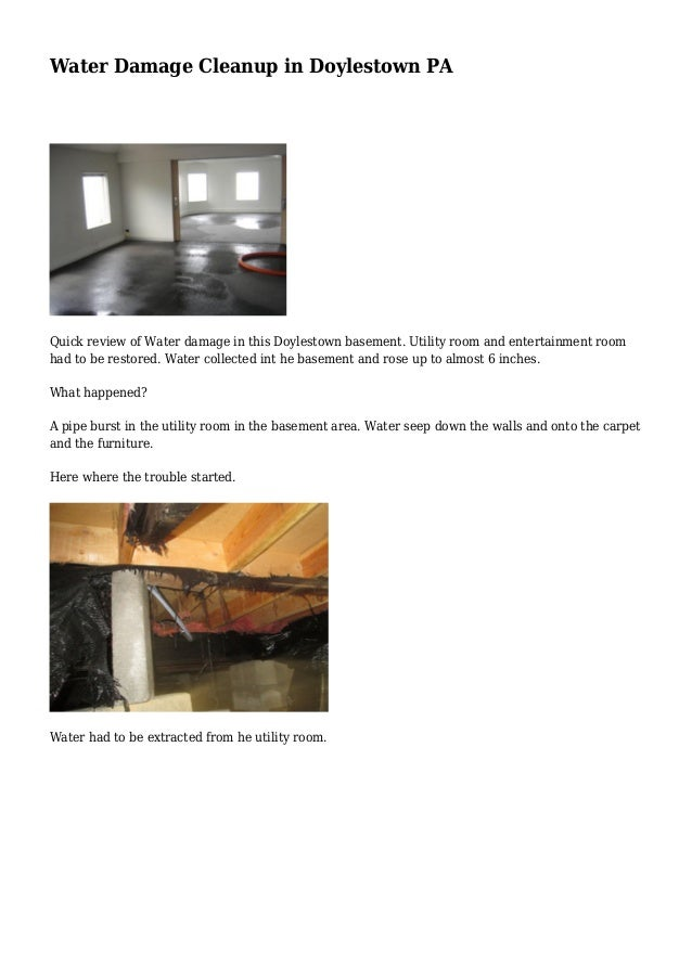 Water Damage Cleanup in Doylestown PA Quick review of Water damage in this Doylestown basement. Utility room and entertain...