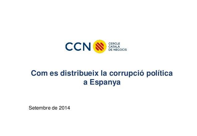 Com es distribueix la corrupció política a Espanya  Setembre de 2014