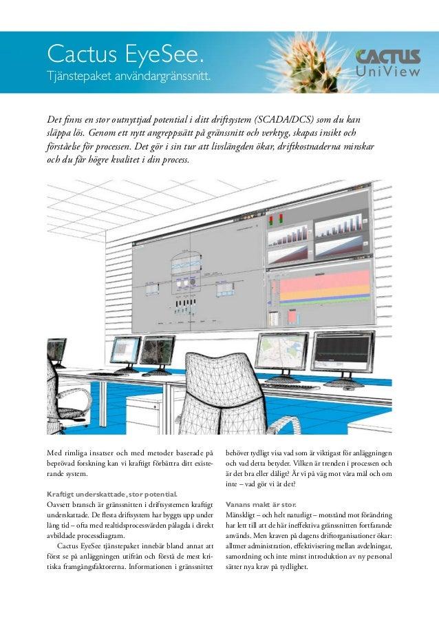 Cactus EyeSee.  Tjänstepaket användargränssnitt.  Det finns en stor outnyttjad potential i ditt driftsystem (SCADA/DCS) so...