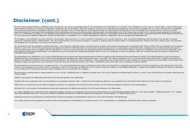 Aegon SAECURE 15 Investor Presentation