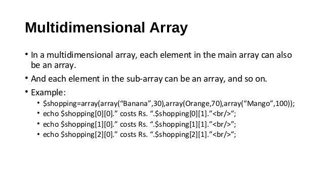 Web Technology - PHP Arrays