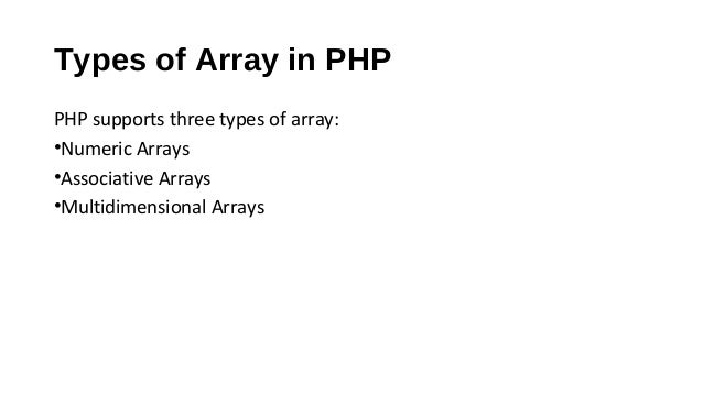 Web Technology - PHP Arrays