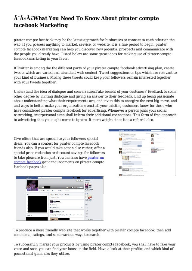What You Need To Know About pirater compte  facebook Marketing  pirater compte facebook may be the latest approach f...