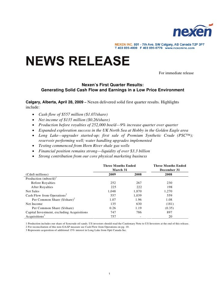 For immediate release                                   Nexen's First Quarter Results:              Generating Solid Cash ...