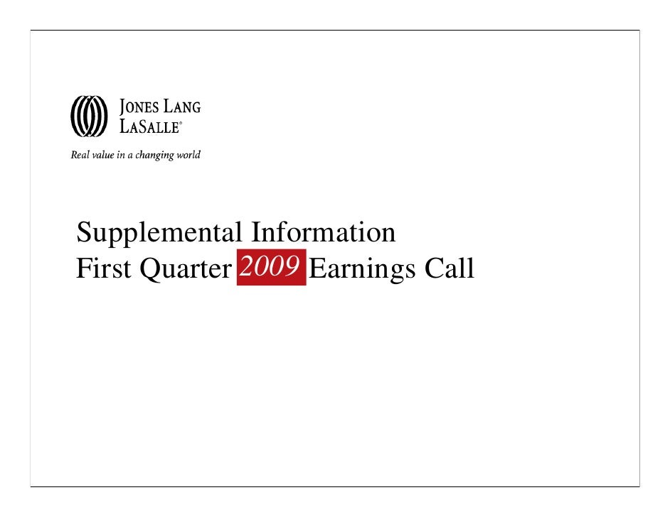 Supplemental Information First Quarter 2009 Earnings Call               2008