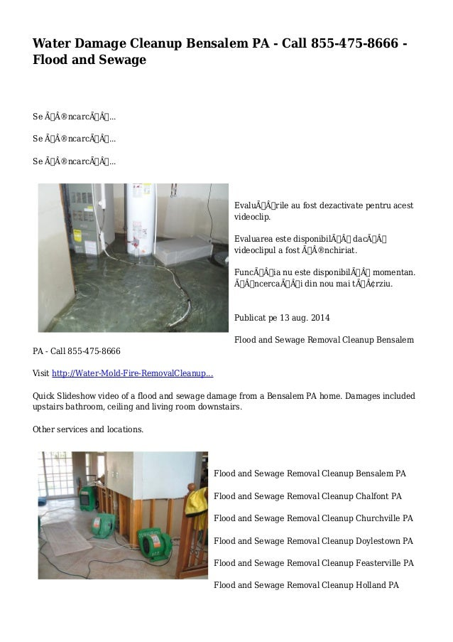 Water Damage Cleanup Bensalem PA - Call 855-475-8666 -  Flood and Sewage  Se încarcă...  Se încarcă...  Se ÃÂ...