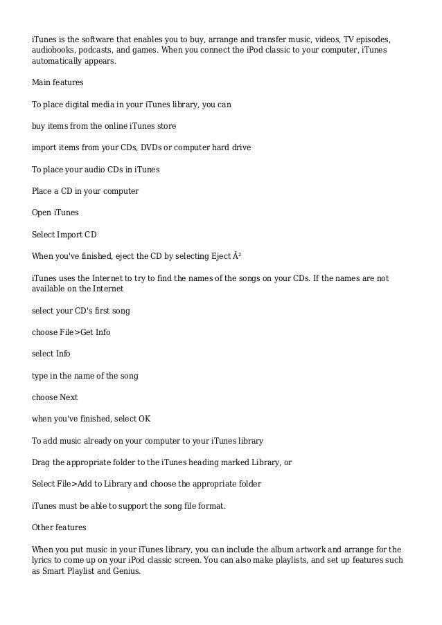 Ipod Classic User Guide
