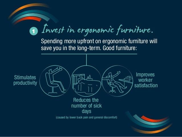 1 Invest in ergonomic furniture.  Spending more upfront on ergonomic furniture will  save you in the long-term. Good furni...