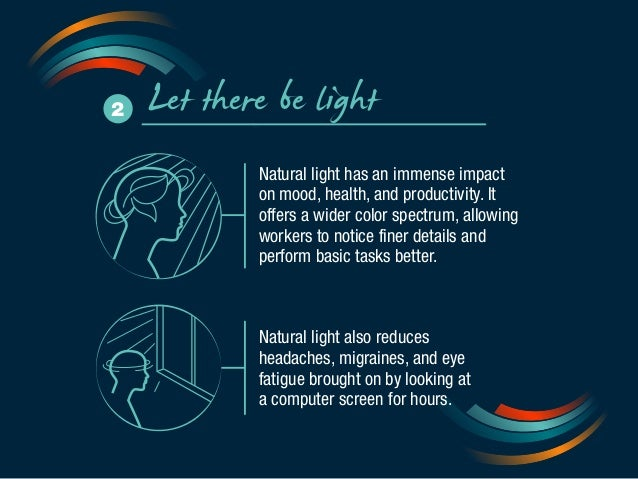 2 Let there be light  Natural light has an immense impact  on mood, health, and productivity. It  offers a wider color spe...
