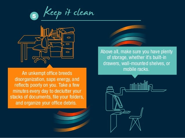 Keep it clean 5  An unkempt office breeds  disorganization, saps energy, and  reflects poorly on you. Take a few  minutes ...