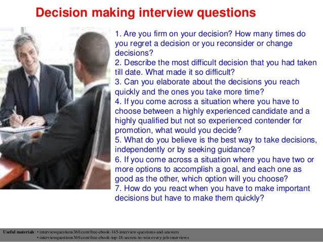 High Quality Decision Making Interview Questions ...
