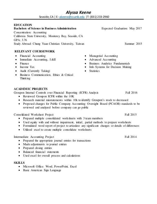 alyssa keene s resume