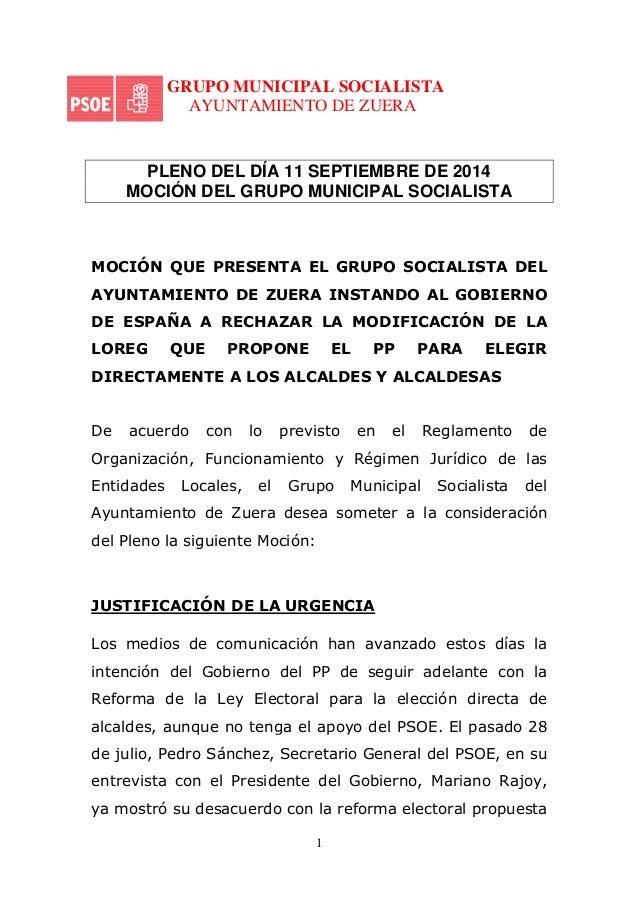 GRUPO  MUNICIPAL SOCIALISTA  AYUNTAMIENTO  PLENO DEL  MOCIÓN DEL  MOCIÓN QUE PRESENTA  AYUNTAMIENTO  DE ESPAÑA A RECHAZAR ...
