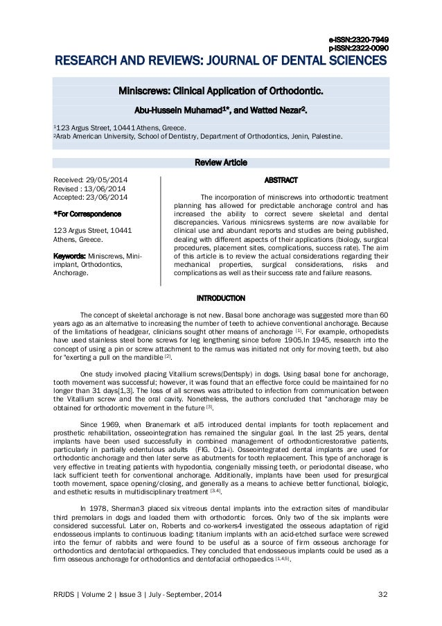 e-ISSN:2320-7949 p-ISSN:2322-0090 RRJDS | Volume 2 | Issue 3 | July - September, 2014 32 RESEARCH AND REVIEWS: JOURNAL OF ...