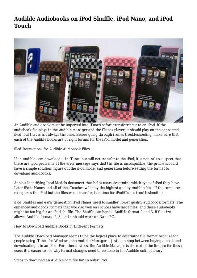 Audible Audiobooks on iPod Shuffle, iPod Nano, and iPod Touch