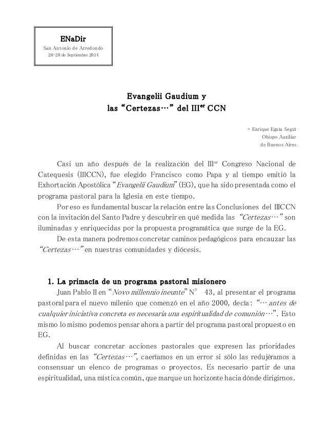 """ENaDir San Antonio de Arredondo 26-28 de Septiembre 2014 Evangelii Gaudium y las """"Certezas…"""" del IIIer CCN + Enrique Eguía..."""