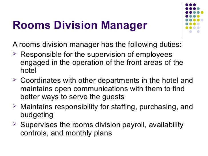 rooms division department 2017-12-17 rooms division 1756 words | 8 pages rooms division department i- hotel organization: ( in order to carry out its mission, global and departmental goals and objectives, every company shall build a formal structure depicting different hierarchy of management, supervision, and employee (staff) levels.