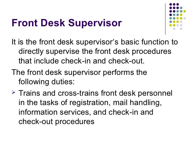 front desk supervisor job description