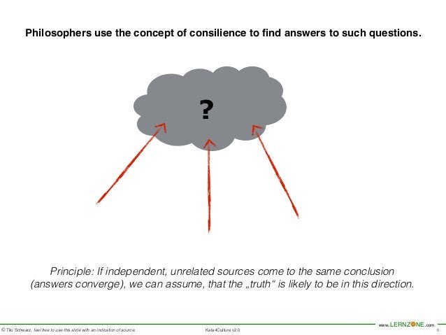 Philosophers use the concept of consilience to find answers to such questions.  www.LERNZONE.com  © Tilo Schwarz, feel fre...