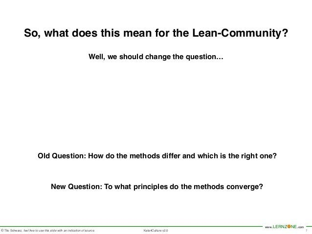 So, what does this mean for the Lean-Community?!  www.LERNZONE.com  !  Well, we should change the question…  © Tilo Schwar...