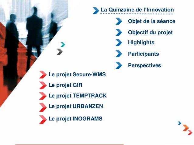 La Quinzaine de l'Innovation  Le projet Secure-WMS  Le projet GIR  Le projet TEMPTRACK  Le projet URBANZEN  Le projet INOG...