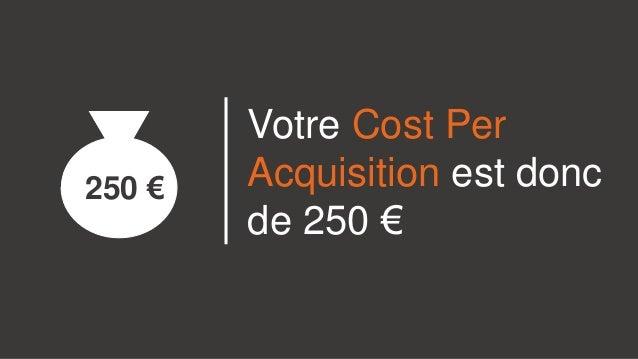 Votre Cost Per Acquisition est donc de 250 € 250 €