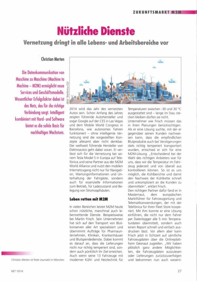 M2M Vernetzung dringt in alle Lebens- und Arbeitsbereiche vor.