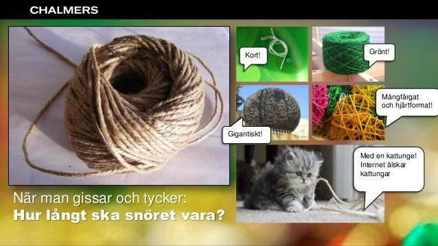 Intro När man gissar och tycker: Hur långt ska snöret vara? Grönt!Kort! Gigantiskt! Mångfärgat och hjärtformat! Med en kat...