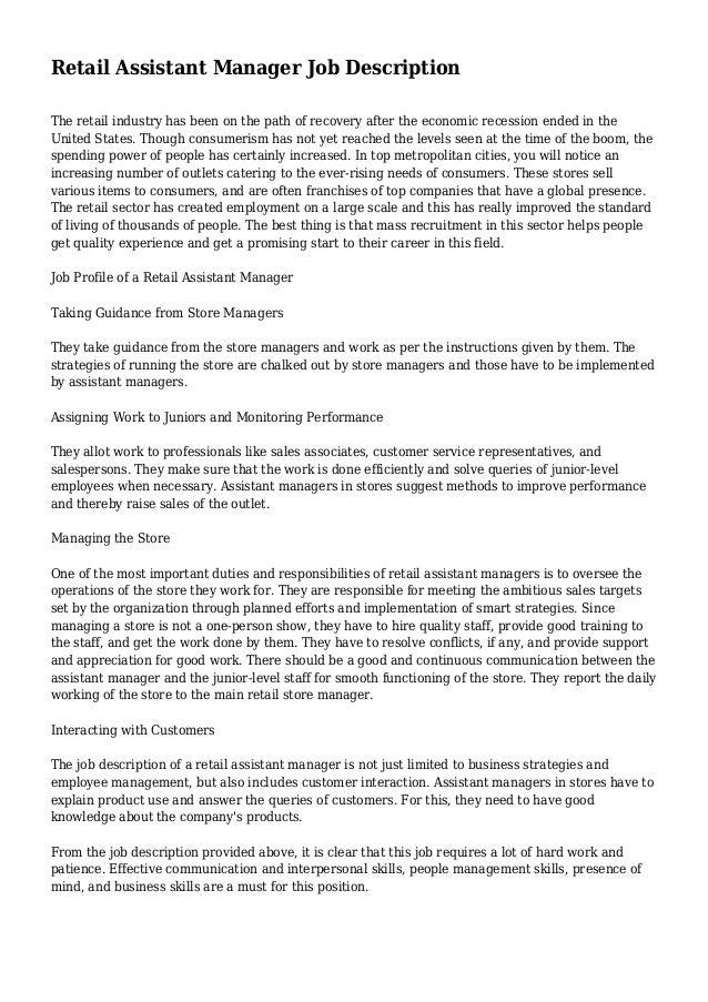 Fashion retail store manager job description 66