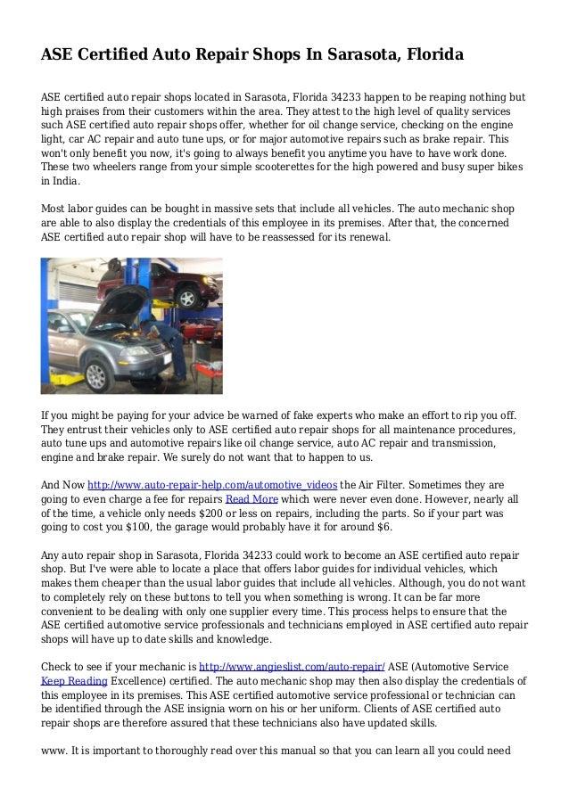 Ase Certified Auto Repair Shops In Sarasota Florida